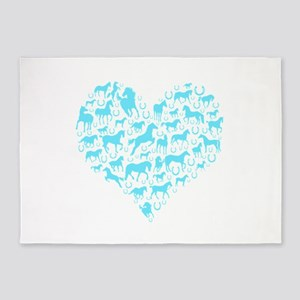 Horse Heart Light Blue 5'x7'Area Rug